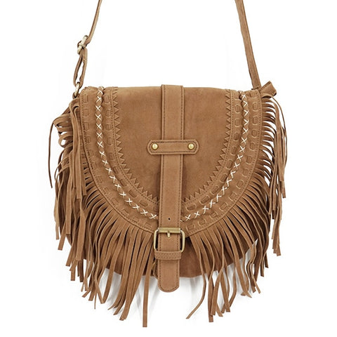 Fringed Messenger Bag-bag -The Poetic Soul - Boho Style, Women's Clothing & Chic Accessories