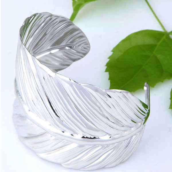 Vintage Boho Leaf Bangle (5 Colors)-Accessories-The Poetic Soul-Silver-The Poetic Soul