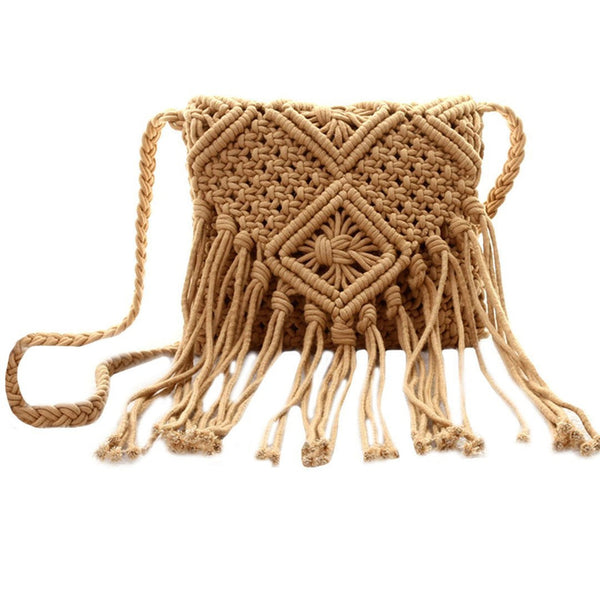 Fringe Tassel - Crossbody Shoulder Bag - Woven Handmade Boho Beach Travel Handbag for Women-Purse-Brown- Boho Chic - Free Spirit -The Poetic Soul