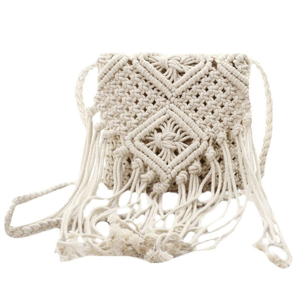 Fringe Tassel - Crossbody Shoulder Bag - Woven Handmade Boho Beach Travel Handbag for Women-Purse-White- Boho Chic - Free Spirit -The Poetic Soul