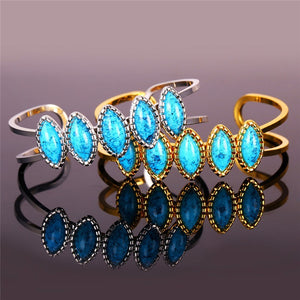 (Gold, Silver) Blue Stone Bracelets For Women Trendy Gold Color Turkish Jewelry Wholesale Vintage Fashion Cuff Bracelets Bangles-Accessories-Platinum Plated- Boho Chic - Free Spirit -The Poetic Soul