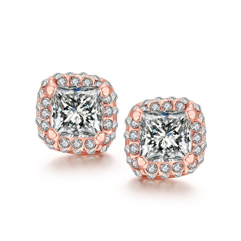 White Topaz Diamond Simulated Studs 18K Rose Gold-Accessories- Boho Chic - Free Spirit -The Poetic Soul