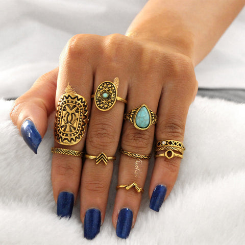 10pcs Vintage Big Stone Midi Ring Set For Women Boho Antique (Gold, Silver) Heart Flower Knuckle Rings Boho Jewelry-Accessories-Gold-color- Boho Chic - Free Spirit -The Poetic Soul