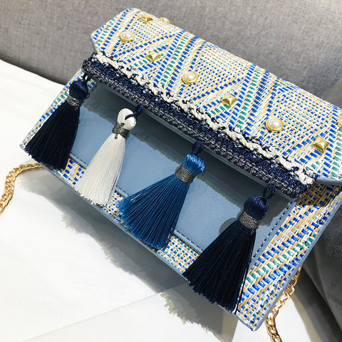 Shoulder Bag (Blue or Beige) Tassel Messenger Small Purse-Purse-Beige-20cm x 14cm x 6cm- Boho Chic - Free Spirit -The Poetic Soul