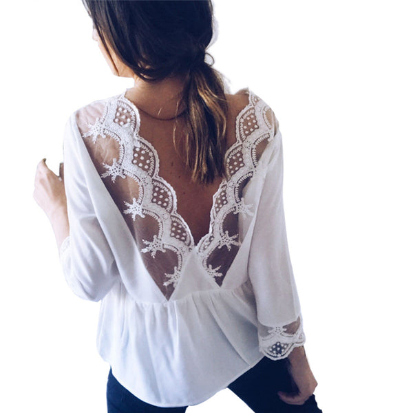 Womens Casual Lace Backless Tops Long Sleeve Blouse-Shirts-WH-L- Boho Chic - Free Spirit -The Poetic Soul