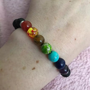 7 Chakra Healing Lava Bracelet-Accessories- Boho Chic - Free Spirit -The Poetic Soul