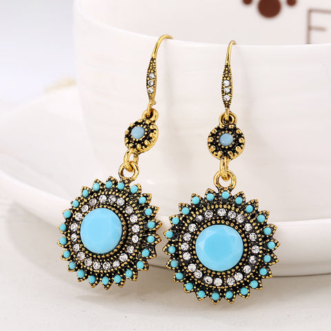(8 Colors) Vintage Bohemian Ethnic Earrings, Sun Flower Earrings, With Gift Box-Accessories-Light Blue+Gold- Boho Chic - Free Spirit -The Poetic Soul