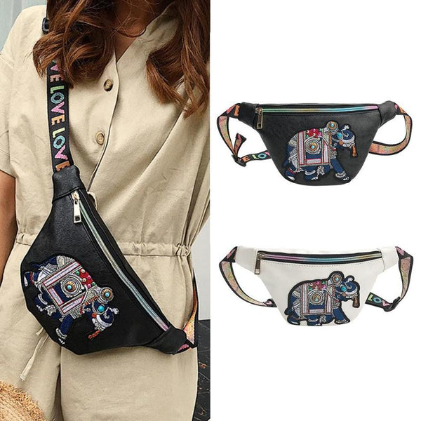 Elephant Love - Leather Waist Bags / Fanny Pack-Purse-Black- Boho Chic - Free Spirit -The Poetic Soul