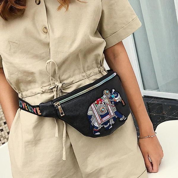 Leather Waist Bags / Fanny Pack / Elephant Embroidery / Travel Sling / Shoulder Chest / Belt Bag / Blk or Wht-Purse-Black- Boho Chic - Free Spirit -The Poetic Soul