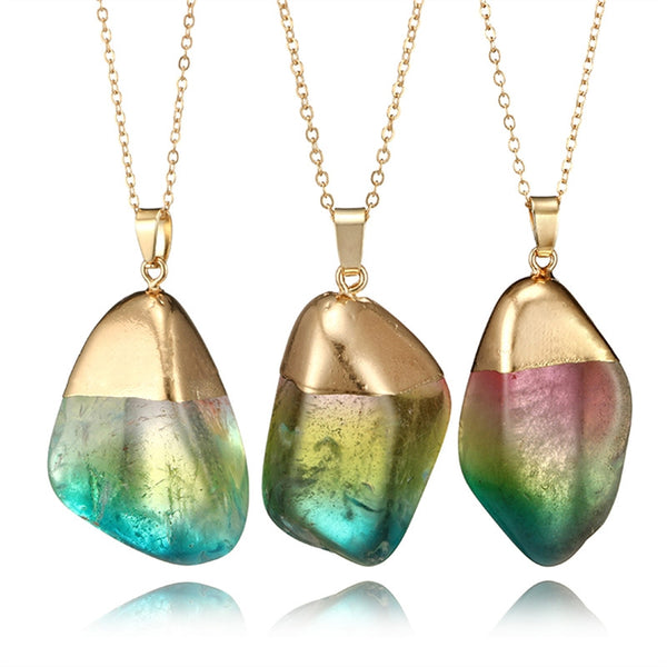 Natural Stone Pendant Necklaces Boho-Accessories-The Poetic Soul