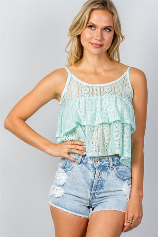 Double Layer Cropped Cami Top - Mint-Shirts-S- Boho Chic - Free Spirit -The Poetic Soul
