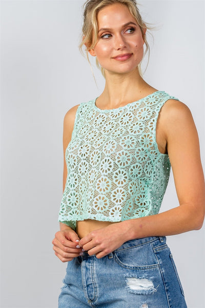 Floral Crochet Lace Crop Top - Mint-Shirts -The Poetic Soul - Boho Style, Women's Clothing & Chic Accessories