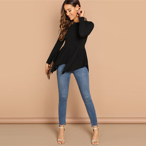 Black Asymmetrical Hem Blouse-Shirts -The Poetic Soul - Boho Style, Women's Clothing & Chic Accessories