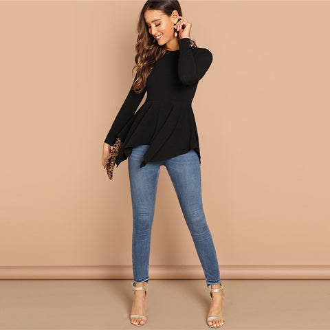 Black Asymmetrical Hem Blouse-Shirts-The Poetic Soul