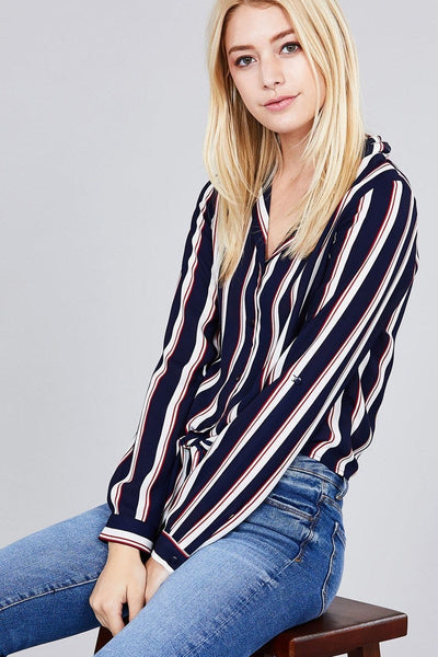 3/4 Roll Up Sleeve Multi Striped Woven Top w/ Front Tie-Shirts-The Poetic Soul