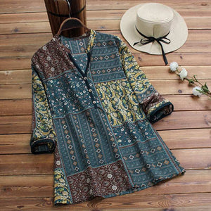 Floral Printed Long Sleeve Shirt Boho Tops / Tunic-Shirts -The Poetic Soul - Boho Style, Women's Clothing & Chic Accessories