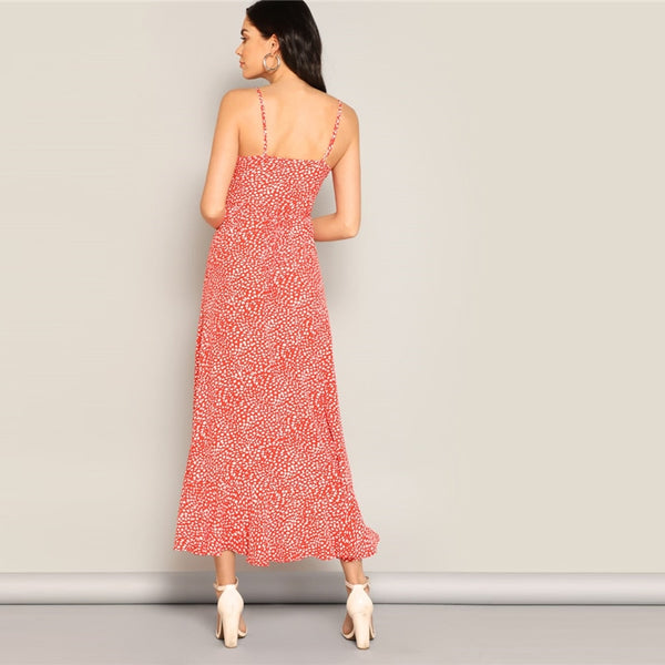 Red Leopard Print High Low Asymmetrical Hem Dress-dress-The Poetic Soul