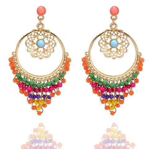 Resin Beaded Statement Long Earrings-Accessories-The Poetic Soul