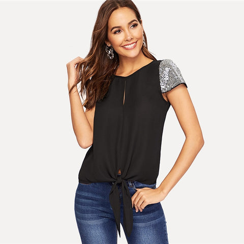 Contrast Sequin Sleeve Black Blouse-Shirts-Black-XS- Boho Chic - Free Spirit -The Poetic Soul