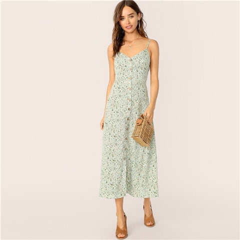 Boho Button Front Fit and Flare Straps Elegant Dress-dress-The Poetic Soul
