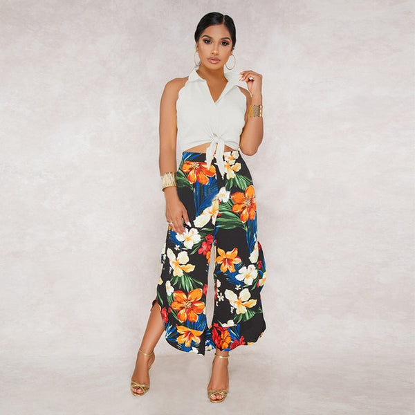 Floral Print 2 Piece Set Sleeveless Crop Shirt Top and Flower Pants Slim Elegant Pants Set Wide Leg Ruffle Trousers-Outfit Set-The Poetic Soul