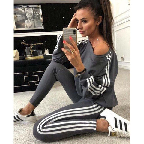 New 2Pcs Women Ladies Crop Tracksuit-2 piece-The Poetic Soul