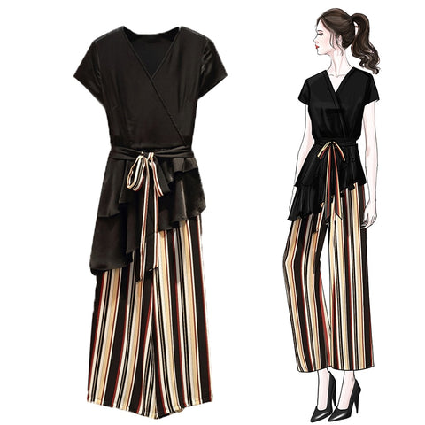 Two piece Set V-Neck Belt Beveled Hem Tops + Pants Striped Elastic Waist-2 piece-The Poetic Soul