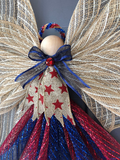 Patriotic Angel Deco Mesh Wreath, Rustic Americana Front Door Decor, Primitive Guardian Angel, Country 4th of July, Kats Creations 777