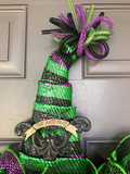 Halloween Witch Hat Wreath Trick or Treat Front Door Decor Spooky Bat Seasonal Holiday by Kats Creations 777