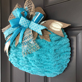 Fall Blue Pumpkin Yarn Wreath, Thanksgiving Home Decoration, Autumn Front Porch Decor, Beach Fall Decor, Harvest Gift, Kats Creations 777