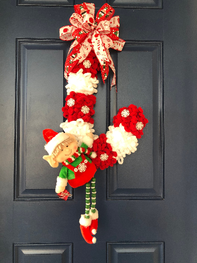 Christmas Boy Elf Candy Cane Wreath, Yarn Xmas Holiday Front Door Decor, Seasonal Wall Hanging, Porch Decoration, Kats Creations 777,