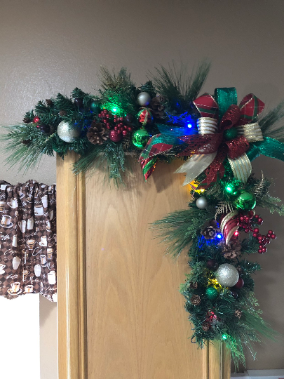 Christmas Lighted Garland, Seasonal Evergreen Corner Swag, Traditional Holiday Decor, Xmas Home Decoration, Kats Creations 777