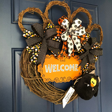 Dog Paw Print Halloween Grapevine Wreath, Welcome Pet Rescue Door Hanger, Trick or Treat Canine Lovers Front Door Decor, Kats Creations 777