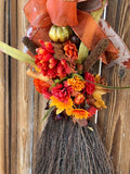 Fall Broom Wreath Autumn Front Door Decor Rustic Farmhouse Thanksgiving Whisk Harvest Floral Decor Leaves