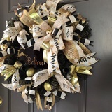 Believe Christmas Reindeer Wreath, Black Gold Elegant Holiday Front Door Decor, Merry Xmas Porch Decor,Door Hanger, Kats Creations 777