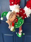 Christmas Girl Elf Candy Cane Wreath, Yarn Xmas Holiday Front Door Decor, Seasonal Wall Hanging, Porch Decoration, Kats Creations 777,
