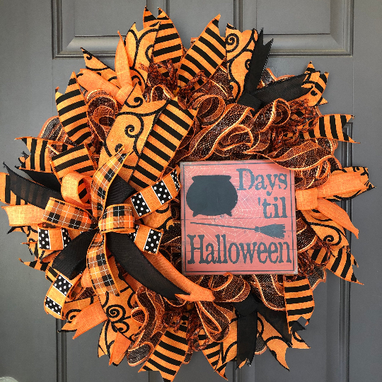 Countdown Days Until Halloween Chalkboard Wreath, Countdown,Trick or Treat Front Door Decor, October 31st Decoration, Kats Creations 777