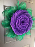 Spring Purple Rose Deco Mesh Wreath, Mothers Day Flower Wall Hanging Easter Front Door Decor, Kats Creations 777, Porch Decoration