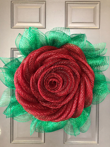 Red Rose Flower Deco Mesh Wreath