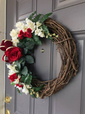Valentines Day Red Rose Grapevine Wreath, Mothers Day Floral Front Door Decor, Wedding Porch Decoration,  Wall Hanging, Kats Creations 777