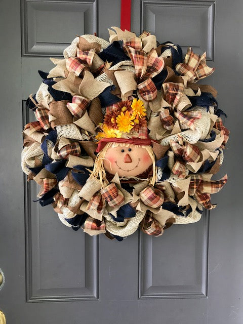 Fall Scarecrow Wreath Thanksgiving Decor Autumn Sunflowers Harvest Door Decorations Orange Plaid Browns Blue Jeans