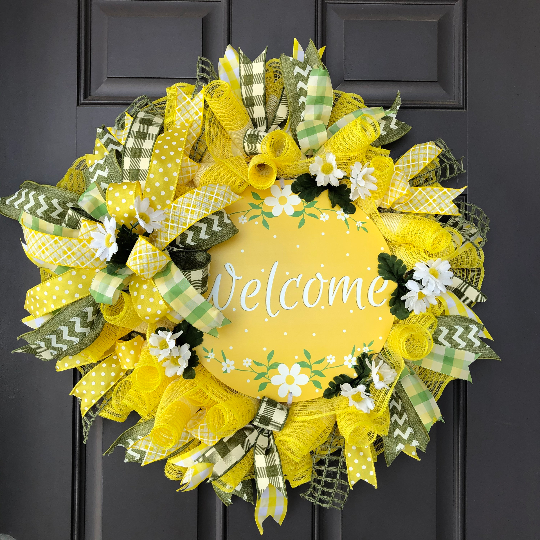 Welcome Daisy Wreath, Spring Floral Front Door Decor, Mothers Day Wall Decoration, Easter Flower Porch Door Hanger, Kats Creations 777