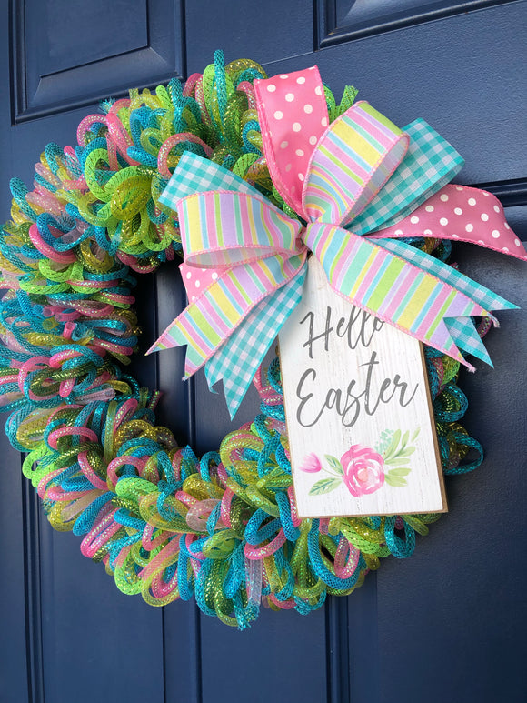 Spring Loop Wreath, Easter Front Door Decor,