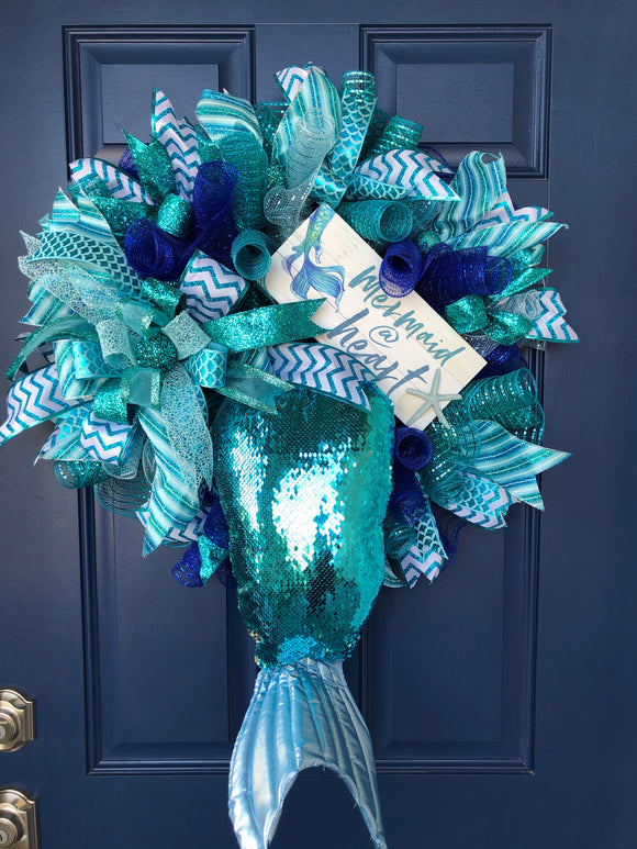 Mermaid Tail Beach Wreath, Ocean Sea Blue Decor,  Front Door Decoration, Mermaid at Heart Door Hanger, Under the Sea, Kats Creations 777