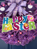 Happy Easter Bunny Wreath, Bubble Seasonal Front Door Decor, Spring Butterfly Decoration, Easter Egg Centerpiece, Kats Creations 777
