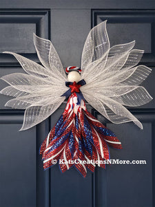 Patriotic Angel Wreath, Holiday Front Door Decoration