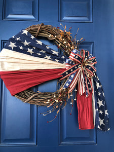 Patriotic Flag Grapevine Wreath,