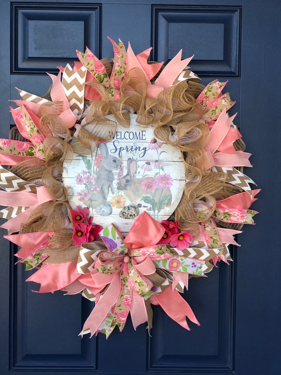 Spring Bunny Welcome Wreath, Easter Front Door Decor