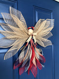 Rustic Patriotic Country Angel Wreath, Front Door Decor