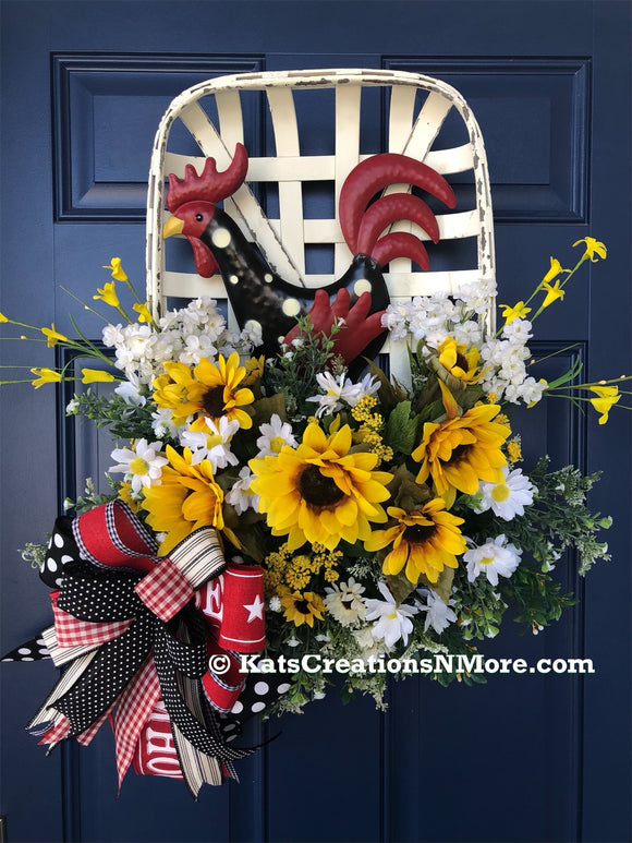 Rooster Tobacco Basket Wreath, Farmhouse Frount Door Decor